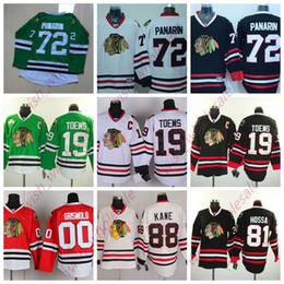 Pullover verde online-Man's Cheap Chicago Blackhawks maglie Jonathan Toews Patrick Kane Artemi Panarin cucita Hockey Jersey di alta qualità Rosso Verde Bianco