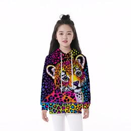 Felpa della ragazza del leopardo online-Felpa con cappuccio per bambini Leopard 3D Digital Full Print Casual Boy Girl Pullover Felpe con cappuccio per bambini maniche lunghe Felpe unisex Top (RLCLM-55028)