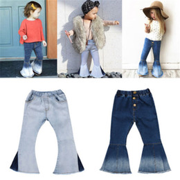 Petit jean en Ligne-Baby Girl Boot Cut Jeans Denim Little Girl Flare Pants INS-jupette Fille Enfants Vêtements Designer