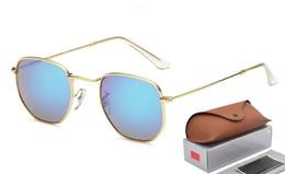 a8a02c621 1 pcs New alta qualidade designer de moda masculina marca 3548 óculos de sol  moldura de ouro Rosa flash de vidro 51mm lente UV400 proteger brown case