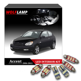 Argentina Wolflamp 10Pcs White Ice Blue Canbus LED Interior Luces del coche para 2006-2011 Hyundai Accent Map Light Light Plate Bulb Dome Lamp cheap blue accent lighting Suministro