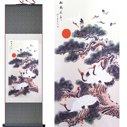 uccelli verniciati Sconti Longevity Crane Painting Chinese Art Painting Home Office Decorazione cinese Scroll Painting Birds Paintingprinted Painting2019061424