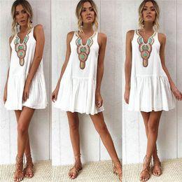 2019 стиль подписи Женские мини-платья в стиле ретро с принтом без рукавов A-Line, платье чешского белого цвета, свободная юбка, пляжная юбка дешево стиль подписи