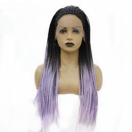 2019 длинный светло-фиолетовый парик Lace Front Плетеный Парик Dark Roots Ombre светло-фиолетовый Long Box плетенки Жаропрочных Синтетические парики для женщин скидка длинный светло-фиолетовый парик