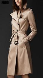 leinwandgraben Rabatt Fashion-2018 Herbst Neue Marke Frauen Trenchcoat Lange Windjacke Europa Amerika Modetrend Zweireiher Dünne Lange Graben