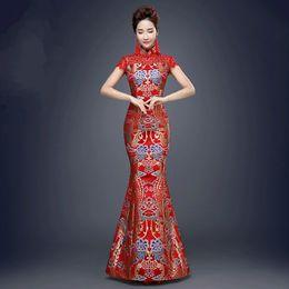 Traditionelles chinesisches brautkleid online-chinesisches traditionelles rotes chinesisches traditionelles für Hochzeitsfest-Frauen-Fischschwanz-alte Qipao Dame Cheongsam Dress Evening Party Costume 89
