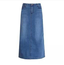 2019 saia jeans longa New Fashion saia Elastic cintura alta longa A linha S a 2XL Plus Size Denim Jeans Primavera E Verão Estilo saias desconto saia jeans longa