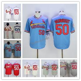 Mens de alta qualidade 50 Adam Wainwright Casa Longe Estrada costurado jersey pullover bordado barato atacado jerseys S-XXXL de