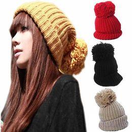 f164d872e03988 winter beret female pompoms beanie women hats skull chunky baggy knitted cap  warm crochet pompom skullies christmas gift