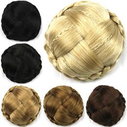 großhandel synthetischen haar brötchen zubehör Rabatt Damen, die Haar-Chignons-Verlängerungs-Brötchen-elastisches Netz gerade Flechten, hitzebeständiges zwei Plastikkämme Hochsteckfrisur-Abdeckung