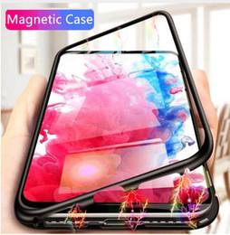 casos sumsung s6 Desconto Caixa magnética do telefone móvel do metal da adsorção para Iphone Xs máximo com tampa traseira de vidro moderada clara de HD