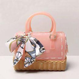 "Almohada leopardo online-JELLYOOY 22 cm (8.66 "") Mujeres Hecho a mano Cesta Diseño PVC Caramelo de color jalea Bolso de playa de almohada"