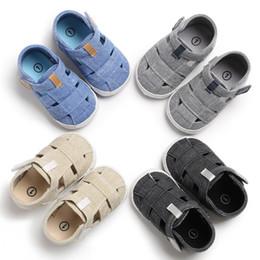 Sandalias negras bebé niñas online-0-1T niños sandalias diseño de moda bebé niños niña verano primeros caminantes niños azul gris sandalias negras