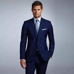 casacos de casamento para homens Desconto Novo Mais Recente Projeto Dois Botões Azul Do Noivo Do Casamento Smoking Notch Lapela Groomsmen Homens Ternos Blazer Prom (Jacket + Pants + Tie) 095
