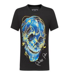 Canada T-shirt en coton percé à manches courtes tête de mort fluorescente de designer de luxe de mode pour hommes de Phillip uni à manches courtes en coton M-3XL cheap printed t shirts skull Offre