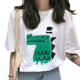 e76843f01c2a8 chemise à dinosaure femme Promotion T-shirt à manches courtes t-shirt  sauvage à