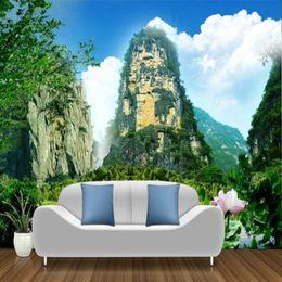 Gran pared de decoración online-Tela de seda simple gruesa fondo de alta montaña 3D de pared gran mural de papel tapiz transparente para sala de estar revestimiento de pared decoración del hogar