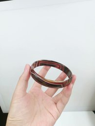 Scatole marrone naturale online-NUOVO CHARM BROWN AGATE NATURAL JADE BANGLE BRACELET 68-70 mm BIG SZ BOX