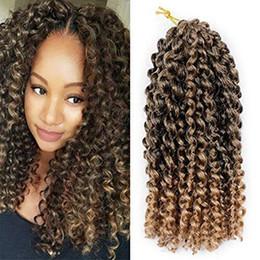 2019 cabelo de onda jerry afro Pacote de 3 Ombre Cor Marlybob Trança De Crochê Cabelo Afro Kinky Curly Jerry Onda Tranças Kanekalon Extensões de Cabelo Sintético (10