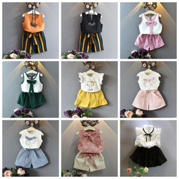 t shirt tutu skirt Promo Codes - 2-7 years kids designer clothes chiffon cotton T-shirt tops+ shorts pants skirts 2pcs set children boutiques clothes summer girls outfits