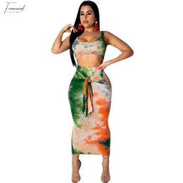 crop top skirt floral Coupons - Sexy Two Piece Set Club Outfits Tie Dye Crop Top And Skirt Set Bodycon 2 Piece Summer Clothes Women Sets