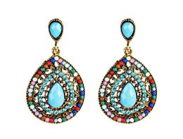 Araña de lucite vintage online-Nueva bohemio rhinestone crystal chandelier pendientes pendientes en forma de gota vintage cuelga el pendiente para las mujeres joyería de moda anillos de oído
