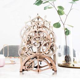 mechanische uhrkits Rabatt Vintage Wohnkultur DIY Handwerk Holz Pendeluhr Modell Kits Dekoration Mechanische Wanduhr Getriebe Uhrwerk für Geschenk