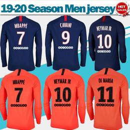 uniformes de paris Promotion Maillot de football manches longues 2020 Paris Home # 7 MBAPPE # 18 ICARDI 19/20 écharpe rouge Maillots de foot # 9 CAVANI # 10 NEYMAR Uniformes de Football JR