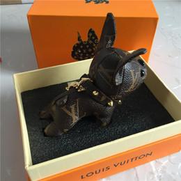 Argentina Venta al por mayor nuevo diseño de cuero de vaca real bulldog francés llavero diseño de marca bulldog francés llavero colgante Suministro