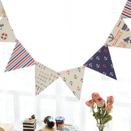 Papier wimpel banner online-1Set Blau Navy Theme Paper Board Bunting Flags Banner für Babyparty-Geburtstags-Party-Hauptdekoration Kinderzimmer Pennant Garland