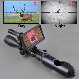 Lanterna de caça tática on-line-Visão noturna Riflescope Ao Ar Livre Caça Escopos Óptica Visão Infravermelho Tático Digital Com Monitor de Bateria e Lanterna