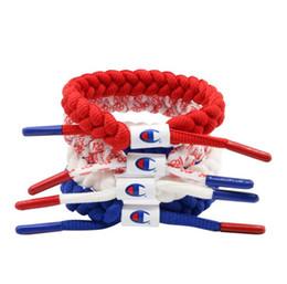 Joyería de nylon online-Carta cordones de los zapatos de la pulsera 4 colores de nylon zapatillas de deporte de la joyería impresa trenzado pulseras de encaje OL accesorios de moda OOA6657