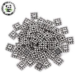 2019 europäische kautschukperlen 500-600pcs 7x7x2mm tibetischen Stil Platz Blume Charme lose Metall Spacer Perlen für Schmuck machen Loch: 2mm