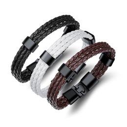2019 haken armband manschette Hohe qualität mehrschichtige echtes pu-leder männer armband kreative titanium stahl leder armband edelstahl charme armreif jewel ph1260