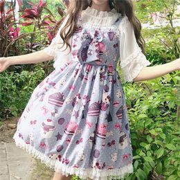 2019 vestidos góticos do lolita do victorian Japonês lolita vestido sem mangas JSK mulheres macio vento menina bonito arco vestido da menina Lolita cinta vestido bonito