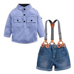 Calça jeans em geral on-line-Varejo meninos bebê gola mandarim listrado camisa + macacão jeans 2 peças set crianças de algodão ternos formais crianças boutique de roupas de grife