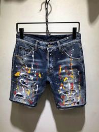 Micro jeans en Ligne-SS19 NEW été coolguy type Skinny Button Fly Hommes Shorts Jeans Denim micro-stretch Desinger D83-D79 Slim Fit faire des trous Shabby top hommes