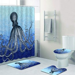 2020 aqua decor Na moda do Aqua Azul marinho Octopus Shower Curtain Set Bela Deep Sea Octopus Bath cortinas para banheiro Bat Mats Tapetes Home Decor desconto aqua decor