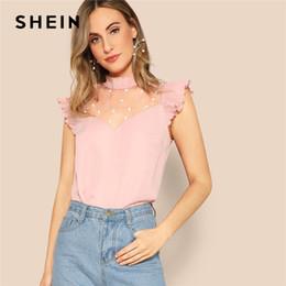 SHEIN Zarif Pembe Inci Boncuk Dantel Yoke Pileli Fırfır Üst Bluz Kadınlar Yaz Fırfır Yaka Cap Sleeve Ofis Lady Bluzlar cheap pink ruffle blouse top nereden pembe ruffle bluz üst tedarikçiler