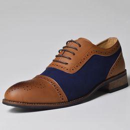 2019 lacets oxford Chaussures de luxe hommes chaussures richelieu en cuir véritable robe à lacets Oxford pour Sapato Masculino BRM-104-3 promotion lacets oxford