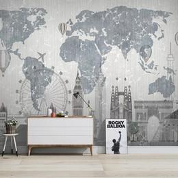 Wasserdichte weltkarten online-Benutzerdefinierte wasserdicht Selbstklebetapete Tapete Weltkarte Stadt-Gebäude Schlafzimmer Arbeitszimmer Wohnzimmer TV Hintergrund Wandmalerei