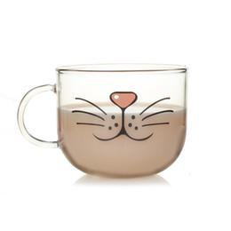 Предпочтительная стеклянная чашка Lovelty Cat Face кружки Кофе Чай Молоко Кружка для завтрака Креативные подарки 540мл от
