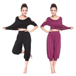Set di yoga modali online-New Style Yoga Clothes Modal Genuine Product Set Yoga Clothes Capri More Sexy Fitness Suit Casual Large Size Korean-style