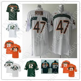 c26b5c2da79a4 Barato personalizado camisetas de fútbol de los Miami Hurricanes 2 Jon  Beason 12 Jacory Harris 20 Ed Reed 26 Sean Taylor 47 Michael Irvin 87  Reggie Wayne