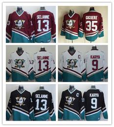a07f591b5 18-19 Vintage Anaheim Mighty Ducks Hockey Jerseys 8 Teemu Selanne 9 Paul  Kariya 35 Jean-Sebastien Giguere 13 Selanne 1998 CCM Jersey