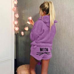 Pijamas mulheres bonitos on-line-Conjuntos de Pijama bonito Para As Mulheres de Inverno Com Capuz Pijamas Flanela 2 Pcs Pijama Ternos Femme Dos Desenhos Animados Gato Pijama Feminino Plus Size 5XL