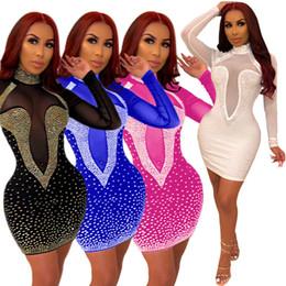 Deutschland Hot Bohren Sexy Mesh-Perspektive Nachtclub-Kleid für Frauen Kleidung Langarm-Partei Cocktial Kleider Perform enges Kleid Versorgung