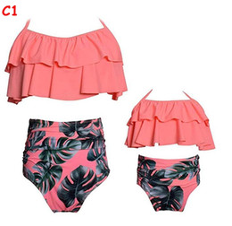 85c96e6227b Discount family swimwear - Mother and Daughter Ruffles Swimwear 2019 Summer  Girls Swimwear Floral Two-