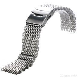 18mm / 20mm / 22mm / 24mm Ancho de plata de acero inoxidable Correa de reloj El mejor reemplazo para el reloj de pulsera casual de alta calidad de cierre plegable desde fabricantes