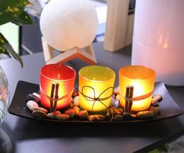 2019 pilares de cristal Candlescape Conjunto à prova de Vento-natural 3 Castiçais De Vidro Decorativos com Pedras e Bandeja Casa Decoração Do Castiçal Do Casamento